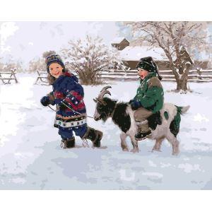 Christams Modern Simple DIY Hand Panting DIY Oil Painting Kid & Goat Wall Art 40*50 Christmas Gift Christmas Decortaion