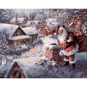Christams Modern Simple DIY Hand Panting DIY Oil Painting Santa Claus Wall Art 40*50 Christmas Gift Christmas Decortaion