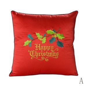 Christmas Silk-like Embroidered Pillow Sofa Cushions