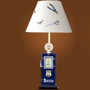 Modern Simple Creative Tanker Modeling Table Lamp Linen Shade With Pattern