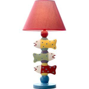Modern Simple Three Fish Modeling Table Lamp Linen Shade