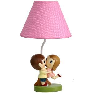 Modern Simple Sweet Couple Modeling Table Lamp Linen Shade