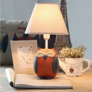 Modern Simple Cartoon Owl Modeling Table Lamp Linen Shade
