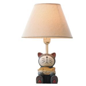 Modern Simple Cartoon Cat Hold Fish Modeling Lamp Linen Shade