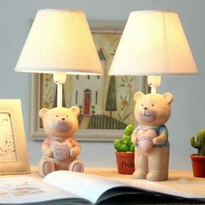 Modern Simple Love Bear Modeling Lamp Table Linen Shade