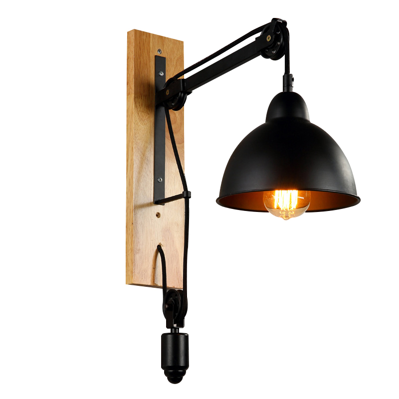 lighting wall lights in stock american retro creative iron craft industrial lift pulley. Black Bedroom Furniture Sets. Home Design Ideas