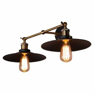American Village Industrial Retro Iron Wall Lamp Two Lights Black Shade