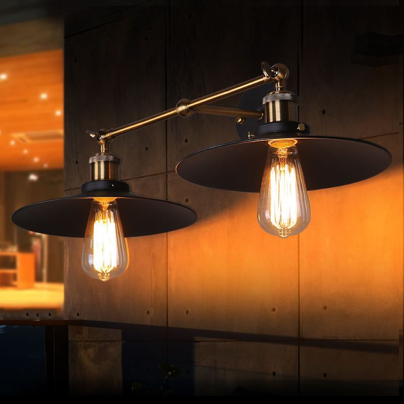 Black Retro Wall Lights : Lighting - Wall Lights - American Village Industrial Retro Iron Wall Lamp Two Lights Black Shade