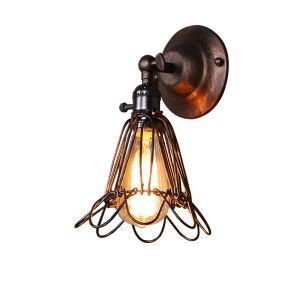 American Retro Industrial Style Iron Wall Light Unique Bird Cage Modeling