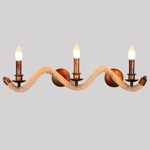 American Retro Iron Fashion Modern Simple Twisted Hemp Rope Wall Lamp