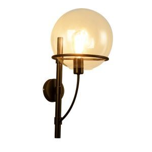 American Antique Industry Style Retro Iron Wall Lamp Glass Lampshade