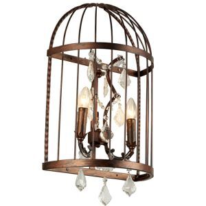 American Village LOFT Iron Bird Cage Crystal Two Lights Wall Lamp