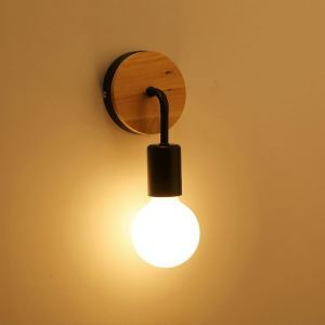 Nordic Modern Simple Style Personality Creative Solid Wood Iron Single Head Wall Light