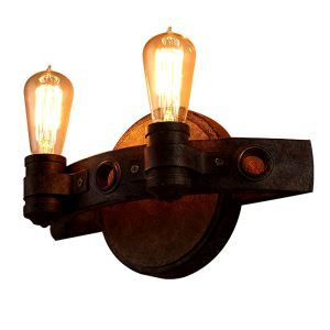 European Creative Fashion Retro Simple Style Iron Two Lights Wall Light