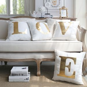 Creative Viscount Gold Leather Sofa Pillow Cover Home Fabric Car Cushion Viscount Love Pillow Cover Four-piece Bright Gold Leather L O V E Pillow Cover Group
