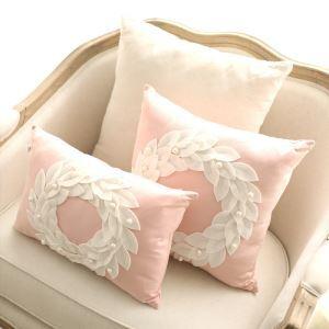 Creative New Pink Romantic European Sofa Lumbar Pillow Home Cloth Cotton And Linen Cushions 30*45cm