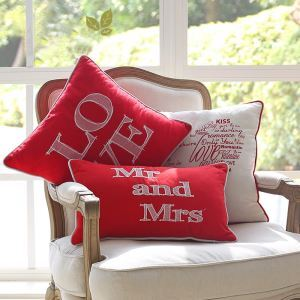 Embroidered Letter Mr & Mrs Letter Pillow, Red Pillow Holiday Pillow, Holiday Gift Pillow