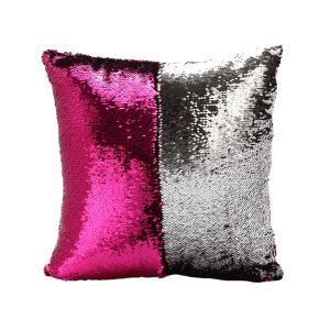 (In Stock) Mermaid Pillow Cover Fuchsia/Silver Change Color Sequins Cushion Inverted Flip Sequin Pillow Cover