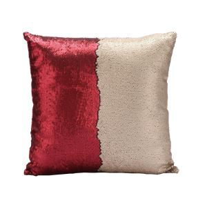 Mermaid Pillow Champagne/Red Change Color Sequins Cushion Inverted Flip Sequin Pillow