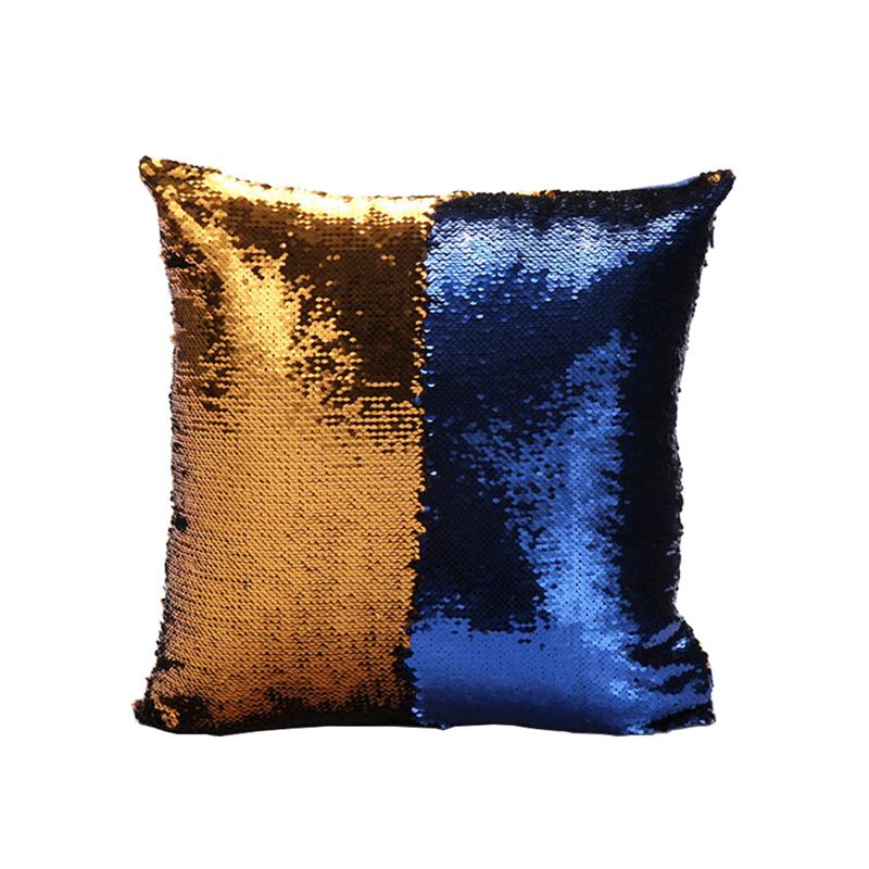 Mermaid Pillow Cover Gold Blue Change Color Sequins