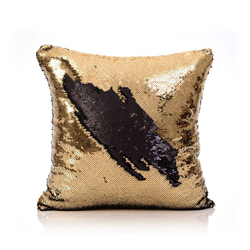 Mermaid Pillow Cover Gold Black Change Color Sequins