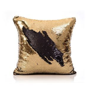 (In Stock) Mermaid Pillow Cover Gold/Black Change Color Sequins Cushion Inverted Flip Sequin Pillow Cover