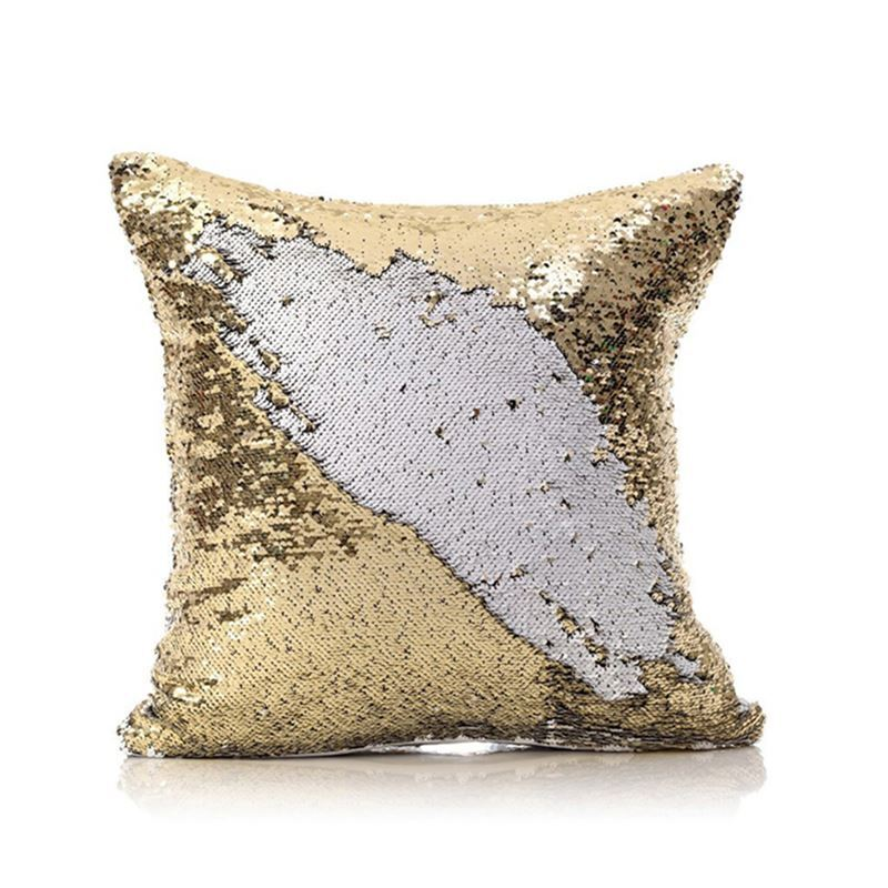 Mermaid Pillow Cover Champagne Ice Change Color Sequins