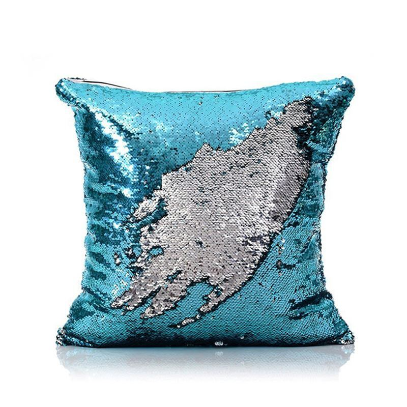 Mermaid Pillow Cover Blue Silver Change Color Sequins