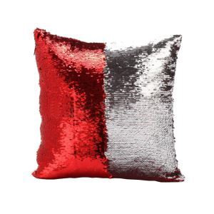 Mermaid Pillow Red/Silver Change Color Sequins Cushion Inverted Flip Sequin Pillow