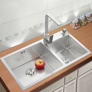 Modern Simple 4MM Thick Handcraft Double Groove 304 Stainless Steel Sink Kitchen Basin 750*410mm