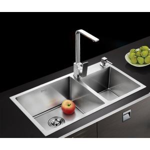 Modern Simple 4MM Thick Handcraft Double Groove 304 Stainless Steel Sink Kitchen Basin 780*430mm