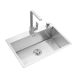 Modern Simple 4MM Thick Handcraft Single Groove 304 Stainless Steel Sink Kitchen Basin 600*450mm