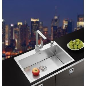 Modern Simple 4MM Thick Handcraft Single Groove 304 Stainless Steel Sink Kitchen Basin 600*480mm