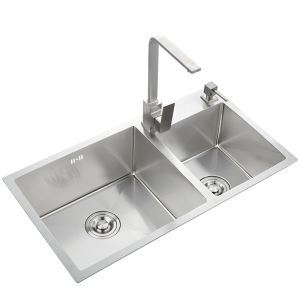 Modern Simple 4MM Thick Handcraft Double Groove 304 Stainless Steel Sink Kitchen Basin 710*420mm