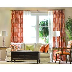 American Countryside Orange Hemp Semi - Shaded Bedroom Terrace Semi - Curtain Finished Curtain Custom