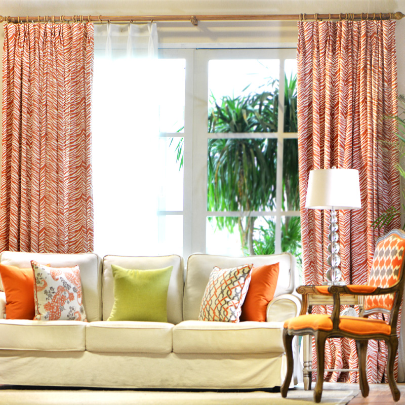 curtains fashion zebra american orange linen bedroom custom bedroom