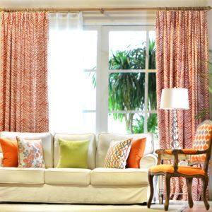 Fashion Zebra American Orange Linen Bedroom Custom Bedroom Window Curtains