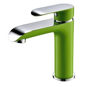 Modern Simple Electroplating Bathroom Single Hole Single Handle Sink Faucet Green + Silver White