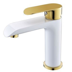 Modern Simple Electroplating Bathroom Single Hole Single Handle Sink Faucet White + Gold