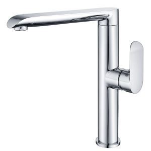 Modern Simple Electroplating Bathroom Single Hole Single Handle Basin Mixer Silver White