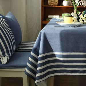 Mediterranean Blue-gray Literary Tablecloths Cotton And Linen Stitching Tablecloths Coffee Table Cloth Modern Simple Striped Western Tablecloths