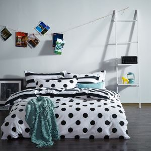 Simple Cotton Four-piece Black And White Series Bedding Warm Cotton Four-piece Black And White Panda Four-piece Black And White Stripes Four-piece Black And White Wave Points Four-piece 220*240cm