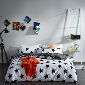 Simple Cotton Four-piece Black And White Series Bedding Warm Cotton Four-piece Black And White Star Four-piece Black And White Curve Four-piece Black And White Geometric Four-piece 160*210cm
