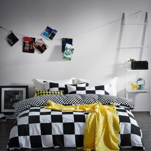 Simple Cotton Four-piece Black And White Series Bedding Warm Cotton Four-piece Black And White Star Four-piece Black And White Curve Four-piece Black And White Geometric Four-piece 220*240cm