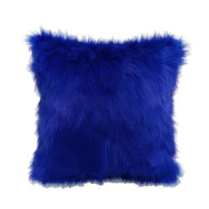 Royal Blue Faux Fox Fur Pillow Sided Fur Pillow