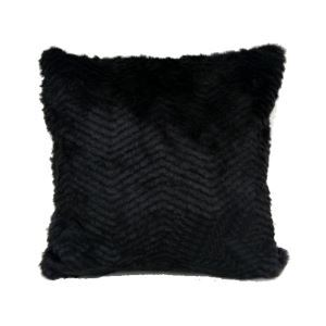 Black Stripes Faux Fur Pillow Cover 45*45cm Single Side