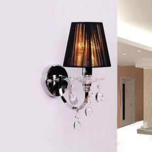 Attractive Polished Chrome Finish and Clear Crystal Drops Add Charm to Single Light Wall Sconce Topped with Black Fabric Shade