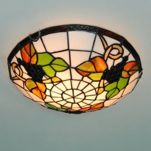 Country 12 Inch Wide Tiffany Flush Mount Ceiling Light with Grape Fruit Pattern