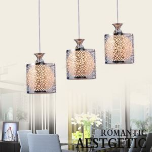 Modern Glass 3 Lights Pendant With Silver Chandelier Small Circles Pattern(Fireflies To Bright)