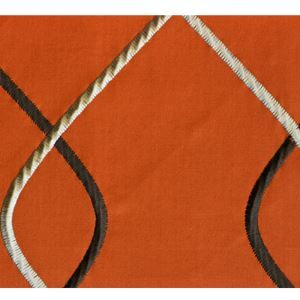 Orange Embroidery Cotton Textile Fabrics